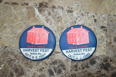 1980 Bauer House Harvest Fest Bethel Mo Oct Pins Buttons Lot of 2