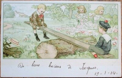 Children Playing on Seesaw, Girls Gathering Flowers 1904 Color Litho Postcard