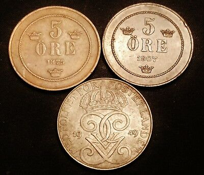 1875, 1907 & 1949  Sweden 5 Ore Coins - Nice Looking Old Coins
