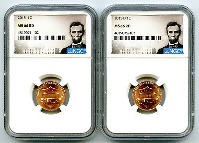 2015 P & D Cent Ngc Ms66 Shield Matching 2 Coin Lincoln Label Set - You Get Both