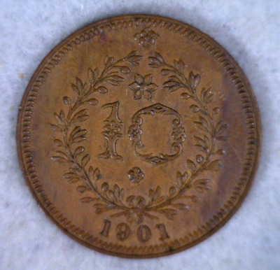 AZORES PORTUGAL 10 REIS 1901  ABOUT UNCIRCULATED ( stock# 0435)