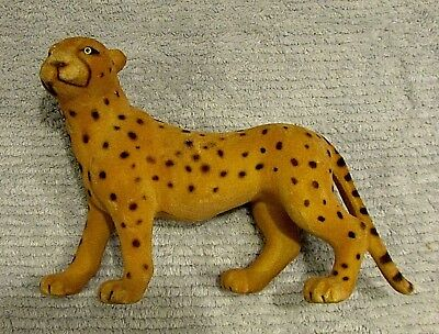 """Vintage 1980's Africa Cheetah 9"""" Fuzzy Covered Plastic Toy Figure FREE S/H"""