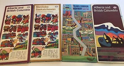 4 Vintage Mid 60's Folding Esso Gas Station Road Maps CANADA