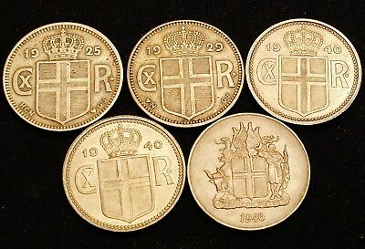 1925, 1929, 1940, 1940 & 1946 Iceland 1 Krona Coins - Nice Looking Coins