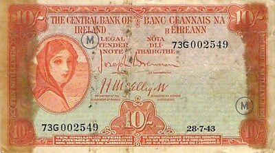 Ireland 10 Shillings Note 1943 P-1D Ex Snorter Note Scarce
