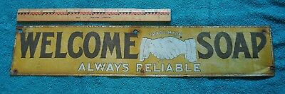 Antique Tin Welcome Soap Sign Very Old Sentenne & Green Co New York Rare!