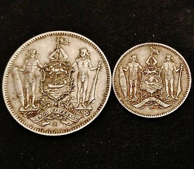 1938 British North Borneo 1 and 5 Cent Coins - Nice Older Coins