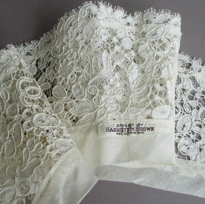Antique Handmade FRENCH Alencon Lace Collar Needlelace FLOWERS w Maker's Label
