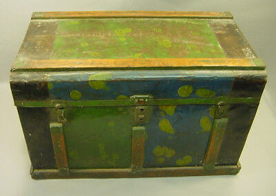 ! Antique ea.1900's Wooden Tin Covered Small Trunk Chest Large Box Green Blue