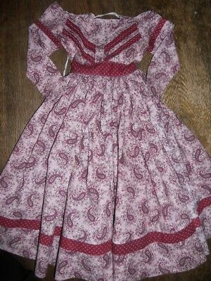Antique Style Cotton Dress For Large China Papier Mache Etc. Doll