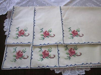 Six Unused Table Napkins With Pink Roses Cross Stitch Embroidery