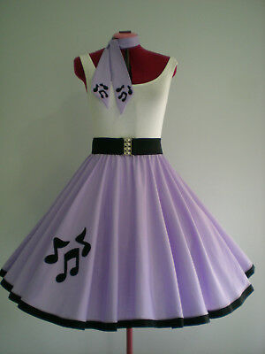 """GIRLS/LADIES ROCK N ROLL/ROCKABILLY """"Music Notes"""" SKIRT-SCARF S-M Pastel Lilac"""