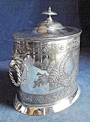 SUPERB Large ~ SILVER Plate ~ GOATS Head ~ BISCUIT BOX ~ c1900 by Walker & Hall
