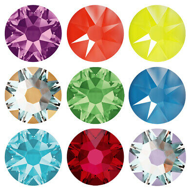 Genuine SWAROVSKI 2058 & 2088 Flat Back Crystals No Hotfix * Plain Colors