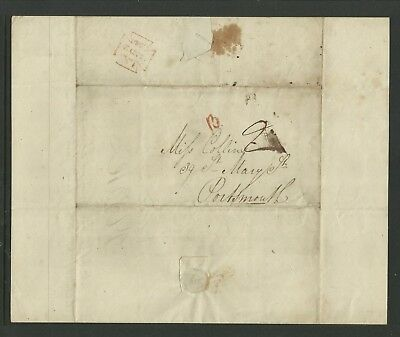 Pre Stamp Entire, London to Portsmouth 24th Nov 1840, 2d Mileage Mark.