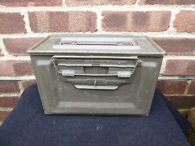 Vintage Industrial Military Ammunition Box 2AFV76 Metal Box Storage Tool Box