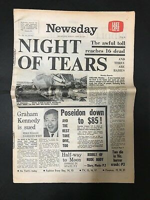 Newsday Vintage Newspaper From Melbourne Monday April 13Th 1970, Full Newspaper