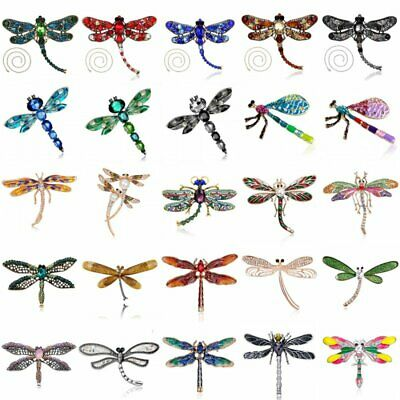 Charm Women Animal Dragonfly Pearl Rhinestone Brooch Pin Necklace Jewellery Gift