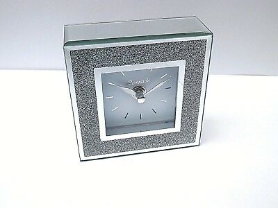 SILVER MIRRORED GLITTER CLOCK -Quartz-Bedroom/lounge/office/hall-Gift Boxed-NEW