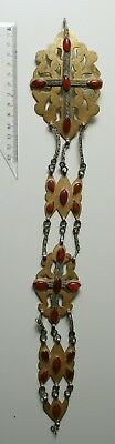 Antique RUSSIAN TURKESTAN Gold Gilt Silver Carnelian PECTORAL PENDANT 1920s-30s