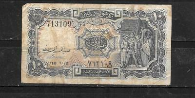 EGYPT #181d 1961 10 PIASTRES GOOD CIRC OLD BANKNOTE PAPER MONEY CURRENCY BILL