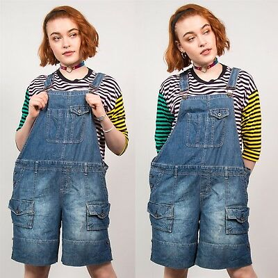 Navy Blue Short Dungarees Maternity Vintage Strappy Romper Casual 90's Cute 16