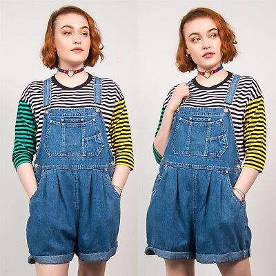 Navy Blue Short Dungarees Maternity Vintage 90's Romper Strappy Cute 12 14