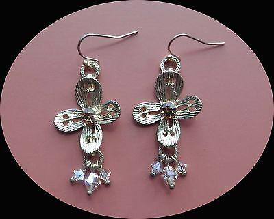 Handmade Golden Flower Earrings with Topaz Crystals and Beads Perfect Gift E1331