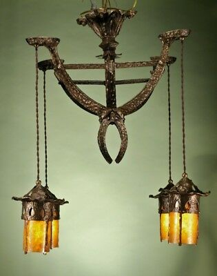 Antique Hammered Arts and Crafts Chandelier Light RESTORED AND REWIRED