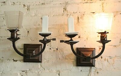 Mission Craftsman Arts and Crafts Gas and Electric Sconces RESTORED AND REWIRED