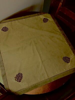 Arts and Craft period style linen table top cloth pinecones