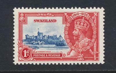 """SWAZILAND 1935 SILVER JUBILEE 1d """"FLAGSTAFF ON RIGHT TURRET"""" NH SG#21d SEE BELOW"""