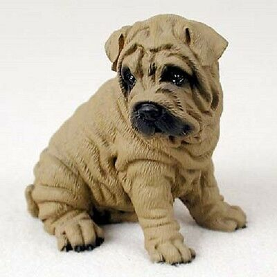 SHAR-PEI Dog HAND PAINTED FIGURINE Resin Statue COLLECTIBLE Brown Shar Pei Puppy