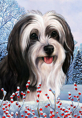 Large Indoor/Outdoor Winter Flag - Black & White Tibetan Terrier 15478