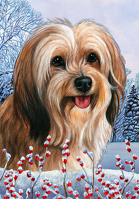 Large Indoor/Outdoor Winter Flag - Sable Tibetan Terrier 15480