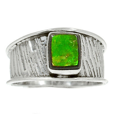 Genuine Canadian Ammolite 925 Sterling Silver Ring Jewelry s.9.5 RR158201