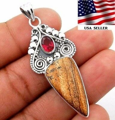 American Picture Jasper 925 Solid Sterling Silver Pendant Jewelry S5-1