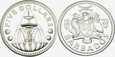 elf Barbados 5 Dollars 1975  Trafalgar Fountain only 1,360 minted