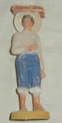 OLD HAND MADE, HAND PAINTED MEXICAN FOLK ART POTTERY FIGURINE, MAN w BAKED GOODS