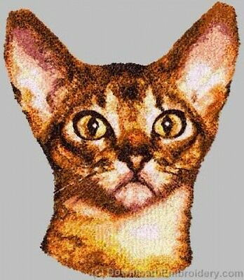 Embroidered Short-Sleeved T-Shirt - Abyssinian Cat DLE2638 Sizes S - XXL