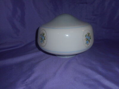 "Vintage Round White Glass W/ Blue Roses Light Globe Shade 4"" Fitter Excellent"