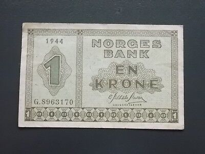 1944 NORWAY Norges Bank 1 Krone banknote
