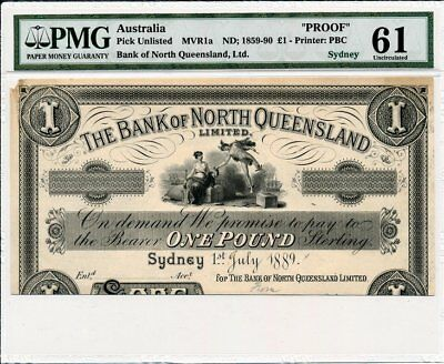 Bank of North Queensland, Ltd. Australia  1 Pound 1889 Sydney, Proof PMG  61