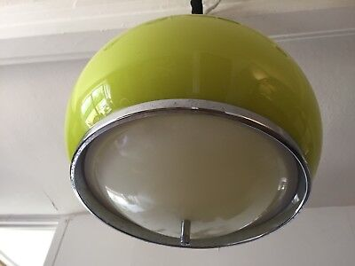 GUZZINI CEILING LIGHT SPUTNIK 1960s RETRO RARE LIME GREEN & RISE & FALL