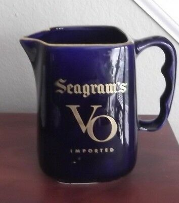 SEAGRAM'S VO* Imported *5.5 ins*Cobalt Blue** Water Jug*Great GILDING*FREE Ship