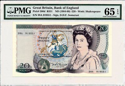 Bank of England Great Britain  20 Pounds ND(1984-88)  PMG  65EPQ