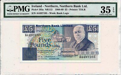 Northern Bank Ltd. Ireland - Northern  5 Pounds 1988 Prefix A PMG  35EPQ