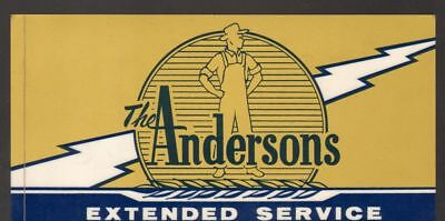 Vintage Undated Unused Advertising Car Battery Label Decal The Andersons Service