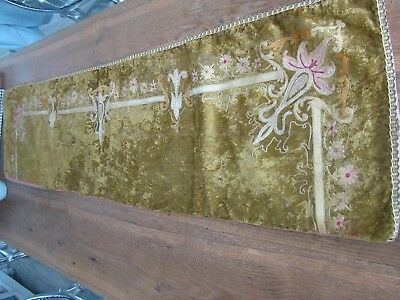 Valance  tablecloth French antique silk velvet embroidered  19th-century