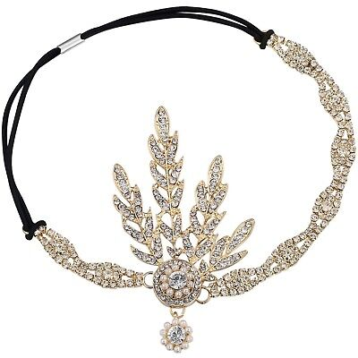 Gold Pearl Headpiece Tiara Hair Accessory Leaf Medallion Flapper Great Gatsby